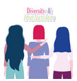 diversity and inclusion back view female group vector image vector image