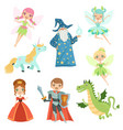 fairytale characters set in different costumes vector image vector image