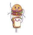 fast food cute burger carrying sandwich cartoon vector image vector image