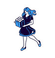 girl with gift box in hands isometric icon vector image