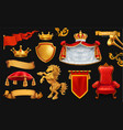 gold crown king royal chair mantle pillow vector image