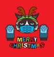 grumpy cat in costume christmas deer mask gloves vector image vector image
