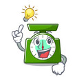have an idea kitchen scale mascot cartoon vector image