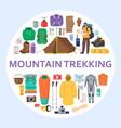 mountain trekking equipment set flat vector image