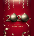 new year 2020 3d gold bauble red greeting card vector image