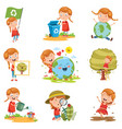 of little girl and nature vector image vector image