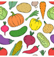pattern with hand drawn vegetables vector image vector image
