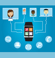 people communicate using a smart watch vector image vector image