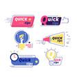 quick tip tricks tips solution logos vector image