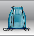 realistic simple blue sport backpack bag isolated vector image vector image