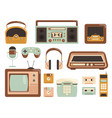 retro gadgets 80s electronic cassette recorder vector image vector image