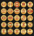 retro golden badge collection 3 vector image vector image