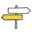 road sign hand drawn outline doodle icon vector image