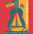 sailboat poster deisgn with big blue guitar symbol vector image