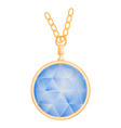 sapphire pendant mockup realistic style vector image vector image