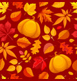 Seamless pattern with autumn leaves and pumpkin