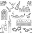 seamless pattern with venice landmarks vector image vector image