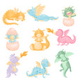 set cute dragons on white vector image vector image