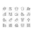 set obesity and overweight line icons fat face vector image vector image