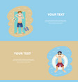 set of conceptual summer banner people on weekends vector image vector image