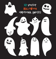 Set of halloween emotional ghosts vector image