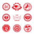 Set of love stamps in red
