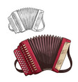 sketch accordion musical insturment icon vector image vector image