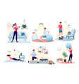 sport exercise at home set workout with ball vector image vector image