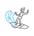 surfing linear icon concept surfing line vector image