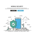 Thin line banner Mobile security Premium vector image