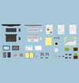 top view office table workspace organization vector image vector image