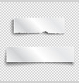 two white realistic paper ripped pieces with vector image vector image