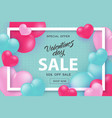 valentine day sale and special offer banner with vector image vector image