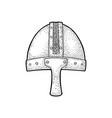 viking medieval helmet engraving vintage black vector image