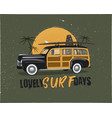 vintage surfing emblem with retro woodie car vector image vector image