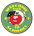 Welcome Back To School Circle And Student Apple vector image vector image
