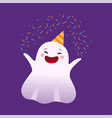 white smiling little ghost having fun in party hat vector image