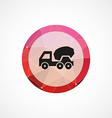 concrete mixer circle pink triangle background vector image