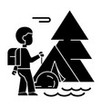 camping tracking tent traveller tourist hiking vector image