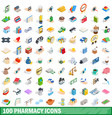 100 pharmacy icons set isometric 3d style vector image vector image