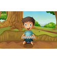 a boy holding an eggtray in forest vector image vector image