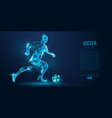 abstract soccer player footballer blue background vector image vector image