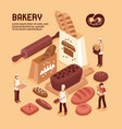 bakery isometric concept vector image