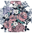 beautiful seamless pattern with hand drawn roses vector image vector image