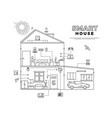 black outline smart house technology system vector image vector image