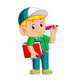 boy holding pencil and carrying book vector image vector image