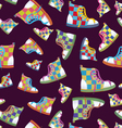 Checked sneaker seamless pattern vector image