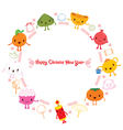 Chinese New Year Cute Cartoon On Circle Frame vector image