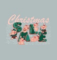 christmas sale banner with cute funny pigs vector image vector image