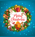 christmas tree gifts and presents wreath vector image vector image